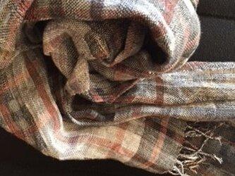 □手織り/春のモノクローム/リネン単糸/all season stoleの画像