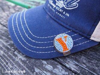 ゴルフマーカー(イニシャル・ライトブルー&オレンジ)の画像