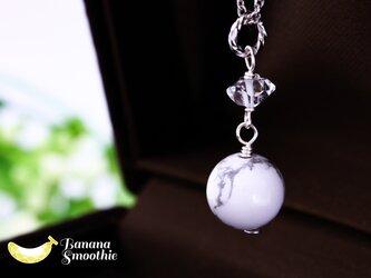 胸元にワンポイント♪ハウライト×ハーキマーダイヤモンドのシンプルネックレス silver925の画像