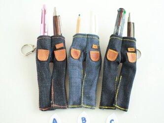 「ボンズ」ズボン型ペンさし ブローチ デニムの画像