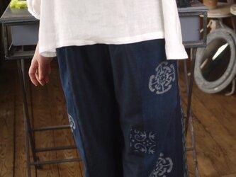 久留米、伊予絣のパッチワーク風パンツの画像