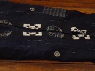 ※確認用     筒がきと古布久留米絣のロングベストの画像