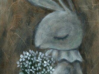 「白い花束」A5 アクリル画 原画の画像