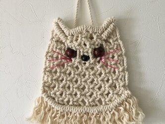【再販売】マクラメ編みタペストリー~ピンクの髭のねこの画像