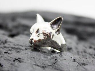 眠る猫のリング(石入りver.)の画像