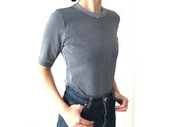 形にこだわった大人の4分袖Tシャツ ストライプ【サイズ展開有】の画像