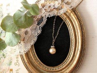 【 大粒 10㎜ 】 ヴィンテージ・ガラスパールと ラインストーンロンデルのネックレスの画像