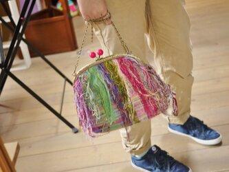 手織り フリンジがまぐちバッグの画像