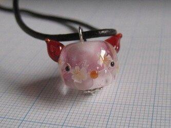 とんぼ玉 猫型花玉(赤)の画像