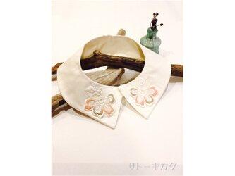 つけ襟☆(ピンク×ベージュ)シルクシャンタン×刺繍レースの画像