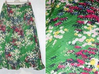 着物リメイク♪春色小紋台形スカート裾フリル♪ハンドメイド♪春よ来い♪の画像