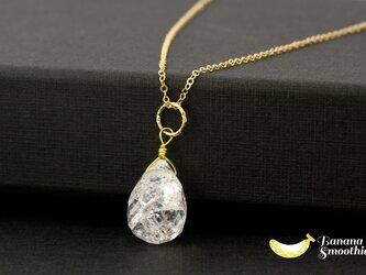まるで氷の結晶 大粒 クラック水晶 ドロップ 14kgf ネックレス 4月誕生石の画像