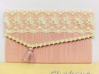 【ふくさ 袱紗】結婚式(慶事) 祝儀袋入れ 金封ふくさ 花柄レース ピンク(桃) 冠婚葬祭の画像
