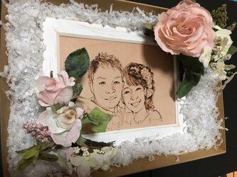 ウェルカムボード 額縁/ピンクの薔薇造花/そのままおける透明パッケージ/送料無料の画像