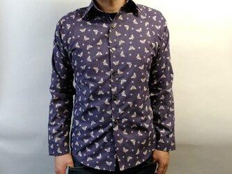 長袖和柄シャツ(蝶と桜)薄紫の画像