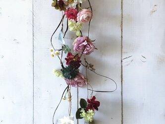 大人ピンクが可愛いお花つなぎ フラワーガーランド Ver.3の画像