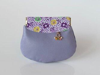 フィードサック 紫小花柄 革の小さいコイン入れの画像