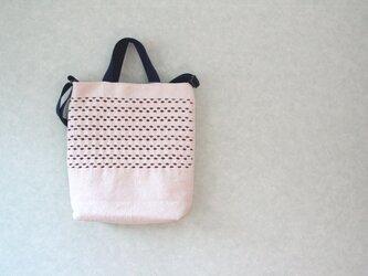 スウェーデン手織りトートバッグ(生成り×えんじ)の画像