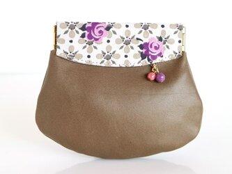 ヴィンテージ 紫のバラ柄 革の小さいコイン入れの画像