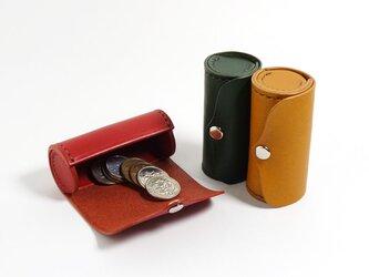 手のひらに収まる 本革製 円筒型コインケース・小銭入れ シャチハタ・リップも収納可【受注生産/革5色・糸10色】の画像
