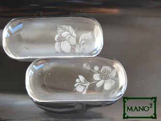 桜 透明ガラスの箸置き二個セットの画像