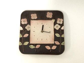 スクエア掛け時計 花(茶×白) 大の画像