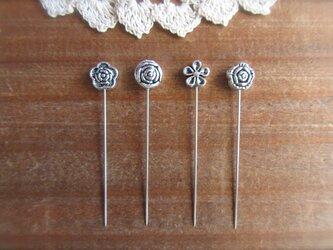 シルバーメタルお花ビーズの待ち針 4種4本セットの画像