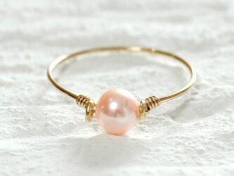 ピンク淡水パール(本真珠)のK14gfキャンディリングの画像