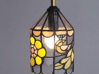 小さな鳥と花ランプの画像
