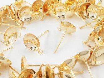 送料無料 ピアスパーツ ゴールド KC金 50個 セット 8mm 台座付 カン付 丸皿 底深 ガラスドーム ピアス AP0475の画像
