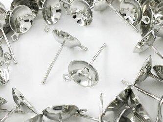 送料無料 ピアスパーツ シルバー 50個 セット 8mm 台座付 カン付 丸皿 底深 ガラスドーム ピアス 金具 AP0476の画像