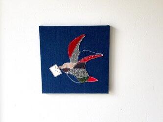 ファブリックパネル 鳥の手紙 30×30の画像