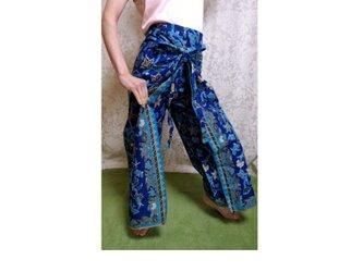 バティックラップパンツ 青×水色の画像