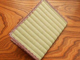 四方縁 畳ブックカバー~麻の葉縁 えんじ~文庫サイズの画像