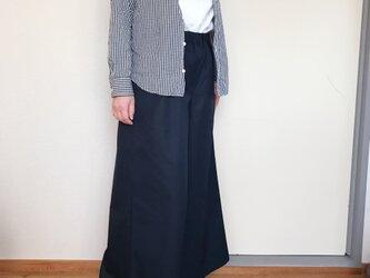 【受注生産】コットンワイドパンツ9分丈  ネイビーの画像