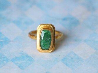 古代スタイル*天然グリーン・ツァボライト 指輪*8号 GPの画像