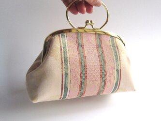 ダマスク織・がま口型ポーチバッグ・ピンク(イタリア製)の画像