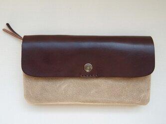 ブタ革*長財布【グレー】レザーロングウォレット*使いやすく大容量【カラーオーダーできます】の画像