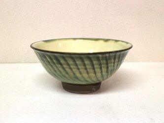小鹿田焼(坂本拓磨) 4.5寸飯碗(刷毛目・緑)の画像