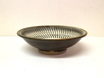 小鹿田焼(坂本拓磨) 6寸深皿(飛びかんな・白)の画像