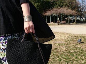 麻バッグ*ブラック×ナチュラル×カーキ【受注制作】の画像