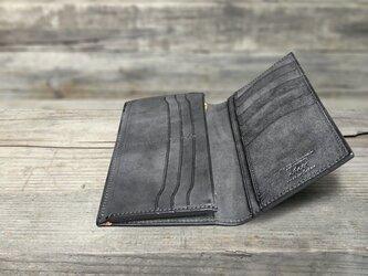 男の本革Slim長財布 --- 希少国産牛革ロロマ [ブラック]の画像