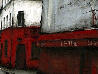 風景画 パリ 油絵「赤いBAR」の画像