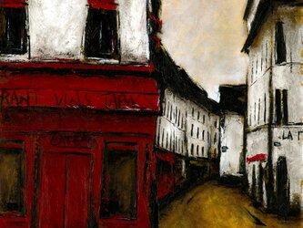 風景画 パリ 油絵「MONTMARTRE」の画像