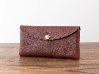 イタリア製牛革のコンパクトな長財布 / ダークブラウン※受注製作の画像