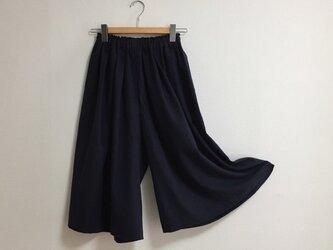 【ゆったりサイズ】cottonリネンのスカーチョ【ダークネイビー】の画像