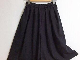 【ゆったりサイズ】cottonリネンのスカーチョ【ブラック】の画像