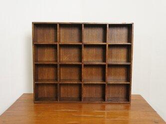 ミンディ材 木製小物入れ トレイ 升箱 木箱 飾り棚 16マス ダークの画像