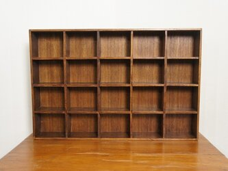 ミンディ材 木製小物入れ トレイ 升箱 木箱 飾り棚 20マス ダークの画像