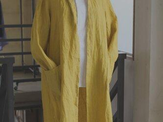 リネンロングガーディガン/saffron yellow *リトアニアリネン【受注生産品】の画像